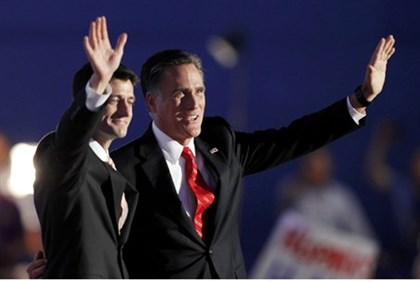 Mitt Romney and Republican vice presidential nominee Paul Ryan