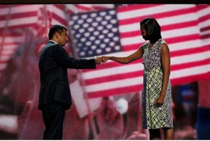 Michelle Obama 'fist-bumps' actor and Obama administration official Kal Penn