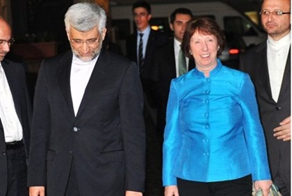 Iran's top nuclear negotiator Saeed Jalili and EU foreign affairs chief Catherine Ashton