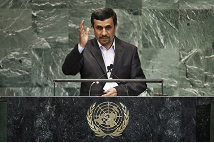 Iran's President Mahmoud Ahmadinejad addresses diplomats during the high-level meeting of the Genera