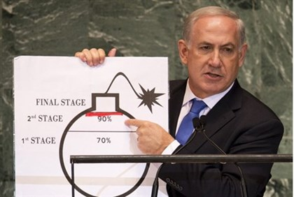 "Netanyahu illustrates the ""red line"""