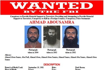 An FBI poster asking for the public's help in finding Ahmad Abousamra,