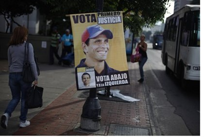 Poster for Henrique Capriles as president in Venezuela