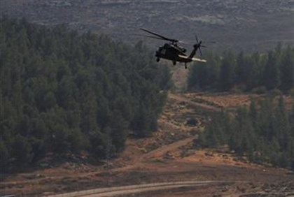 Israeli Army helicopter after drone downed