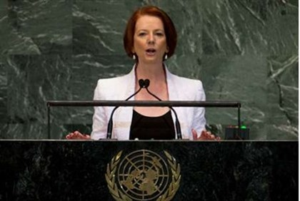 Prime Minister of Australia Julia Gillard addresses UN