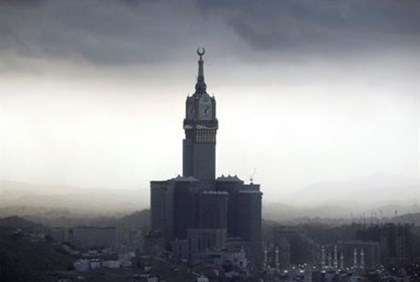 The four-faced Mecca Clock Tower is seen from the top of Mount Noor