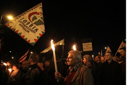 Supporters of the Hungarian far right Jobbik party