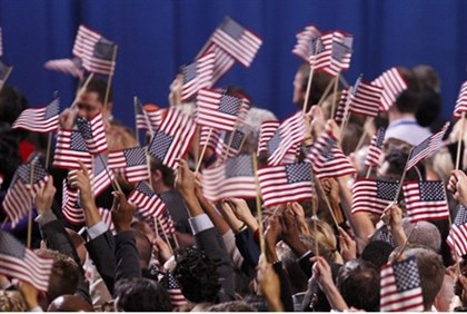 Supporters of U.S. President Barack Obama celebrate during his election night victory