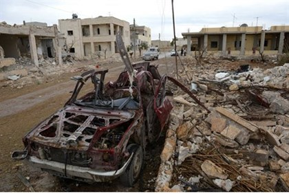 Destruction from Syria's civil war in the town of Saraqeb