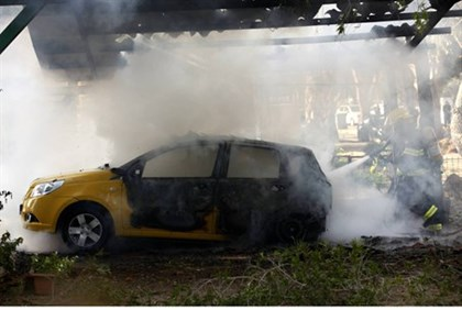 Gaza terrorist's car destroyed by IDF missile