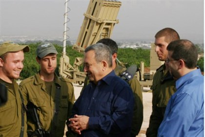 Barak with Iron Dome soldiers