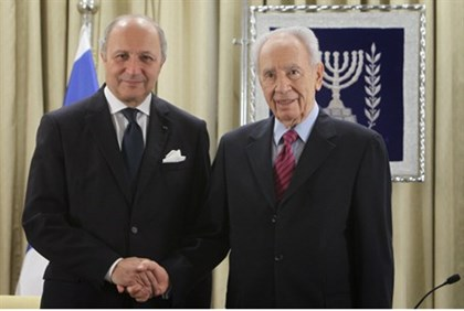 Peres and French Foreign Minister Fabius