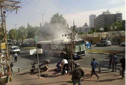 Scene of bus attack in Tel Aviv
