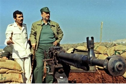 Arafat with weapon in southern Lebanon in the 1970s