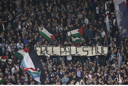 "SS Lazio's fans display a banner that reads, ""Free Palestine"""