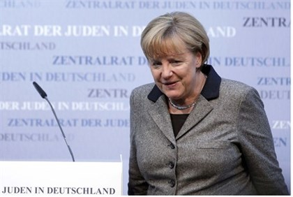 German Chancellor Angela Merkel at a council meeting of the Central Council of Jews in Germany