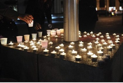 Candles honoring victims lit in Oakland, Ca.