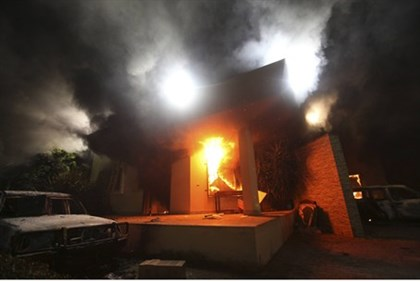 The U.S. Consulate in Benghazi is seen in flames
