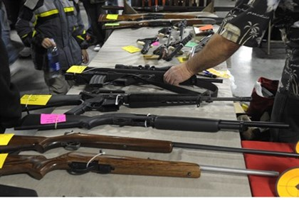Firearms for sale at a gun show in the US