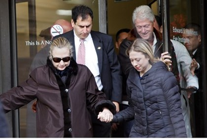 U.S. Secretary of State Hillary Clinton leaves New York Presbyterian Hospital