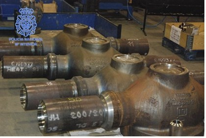 Seized highly corrosion-resistant valves in an unknown location (handout provided by Spanish police)