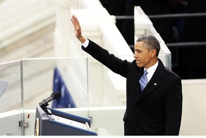 Obama during his swearing-in ceremony