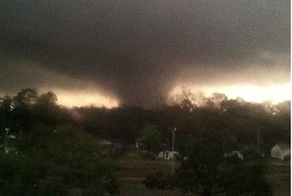 A tornado is pictured near Hattiesburg, Mississippi