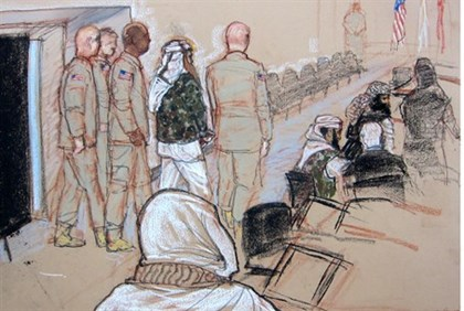 A courtroom sketch of the suspected 9/11 plotters