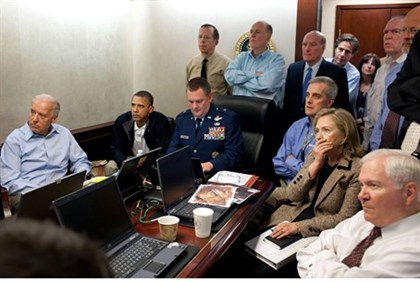 The President's team receives an update on the mission against Osama bin Laden