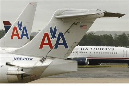 American Airlines, US Airways planes on the tarmac