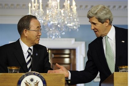 U.S. Secretary of State John Kerry and UN Secretary General Ban Ki-moon