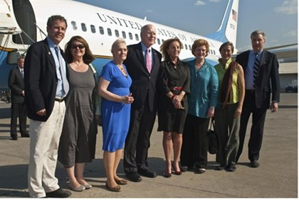 A U.S. congressional delegation, led by Leahy, in Haiti after a trip to Cuba
