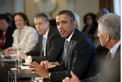 Obama participates in his first cabinet meeting of his second term