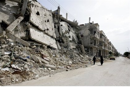 Destruction in the Baba Amr neighborhood of Homs in May 2012