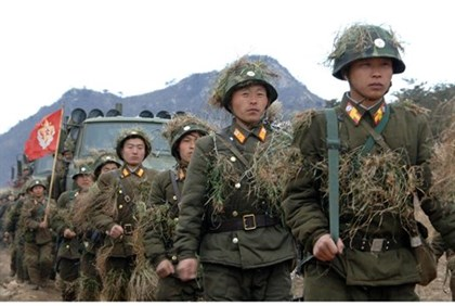 North Korean soldiers attend military training in an undisclosed location