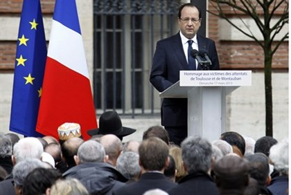 French President Francois Hollande during a memorial ceremony for the Toulouse victims