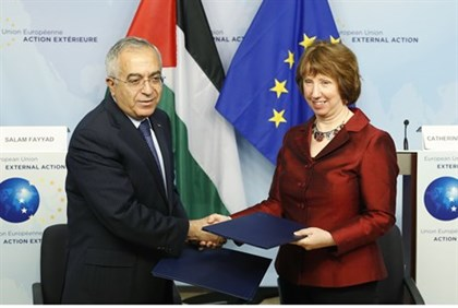 EU foreign policy chief Catherine Ashton with Salam Fayyad