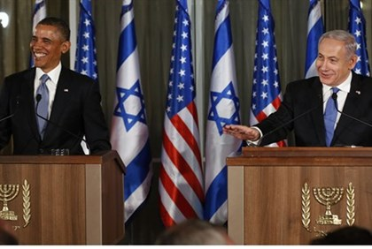 Obama and Netanyahu at press conference in Jerusalem