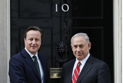 British PM David Cameron greets PM Binyamin Netanyahu