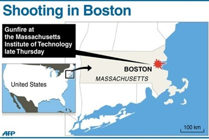 Graphic showing Boston, where gunman killed police officer at MIT
