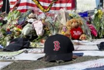 makeshift memorial for Boston Marathon attack victims