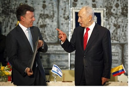 President Shimon Peres and Colombian counterpart Juan Manuel Santos