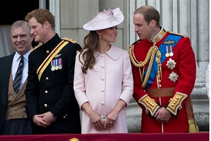 Britain's Prince Andrew, Prince Harry, Prince William and Catherine, Duchess of Cambridge