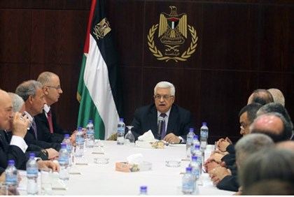 Rami Hamdallah, 4th from left, with PA Chairman Abbas