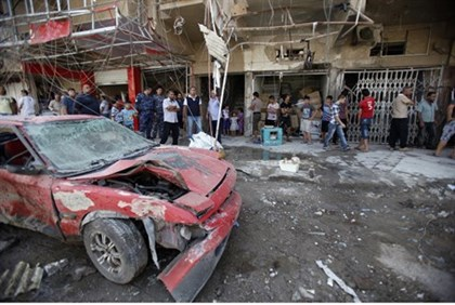 Aftermath of Baghdad car bomb attack Aug. 28