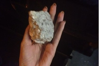 One of the rocks thrown at the bus