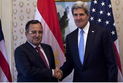 Egyptian Foreign Minister Nabil Fahmi meets US Secretary of State Kerry
