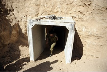 Entrance of tunnel uncovered by IDF
