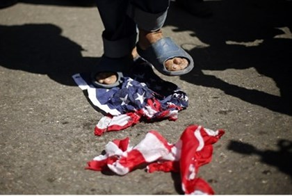 (file)Stepping on US flag in Gaza