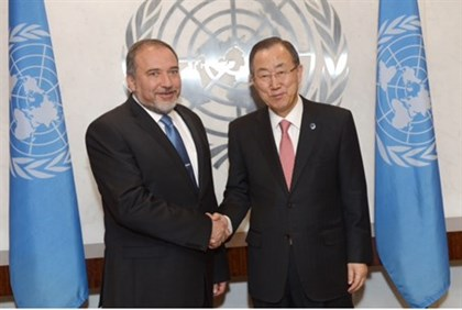 Foreign Minister Lieberman with UN Secretary General Ban Ki-moon